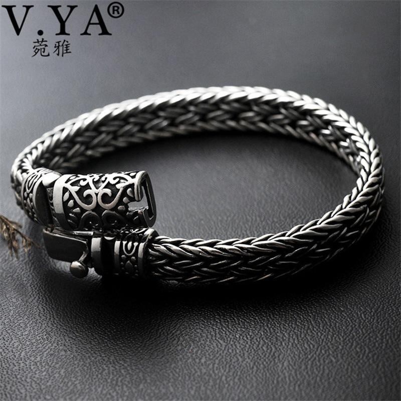 V. YA Cool 925 en argent Sterling large lourds Bracelets pour hommes armure conception mâle Bracelet Thai bijoux en argent 21 cm 22 cm offre spéciale