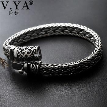 e22355f2e40d V YA bien de Plata de Ley 925 de ancho pesado pulseras para hombres diseño  tejido de hombre pulsera de la joyería de plata tailandesa 21 cm 22 cm  Venta ...