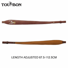 цена на Tourbon Vintage Adjustable Leather Rifle Sling Strap Brown Shooting Hunting Gun Accessories Free Shipping