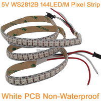 1 M 5 V WS2812B 144LED/m color ideal RGB pixel LED Strip, incorporado WS2811 IC individualmente direccionable IP20 no-impermeable PCB blanco