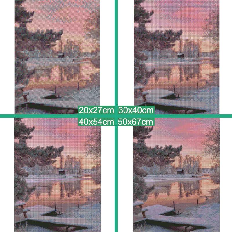 Meian Penuh Diamond Bordir Pemandangan 5D Lukisan Berlian Cross Stitch DIY Round Diamond Mosaik Pemandangan Salju Tahun Baru Dekorasi