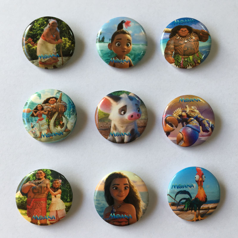 New Arrival 90pcs/lot Ocean Princess Moana Pins Buttons Badges Round Badges Fashion Bags Parts Accessories Party Children Gifts Activating Blood Circulation And Strengthening Sinews And Bones Luggage & Bags