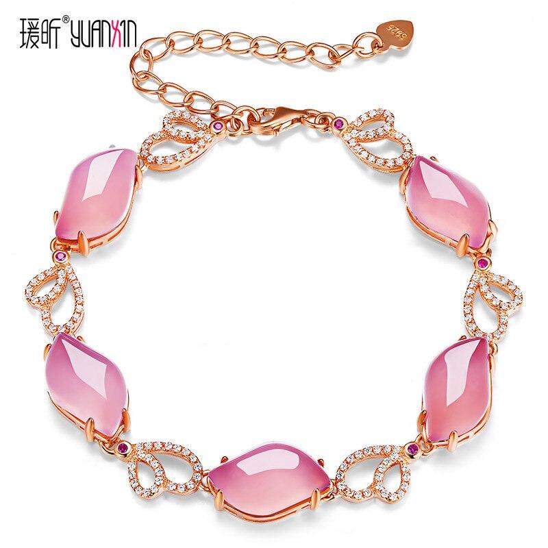 famous brand Natural Semi precious stones pink chalcedony gold Bracelets Women jewelry girlfriend gift