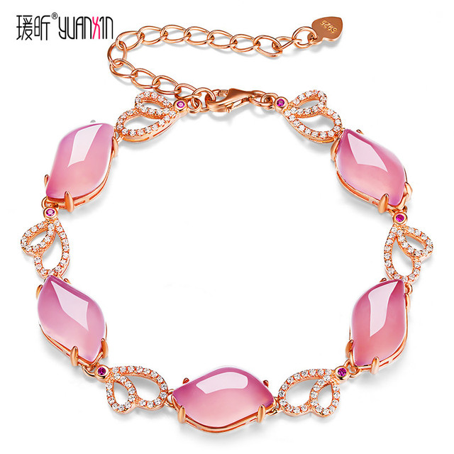 famous brand Natural Semi-precious stones pink chalcedony agate Rose Quartz gold Bracelets Women jewelry girlfriend gift