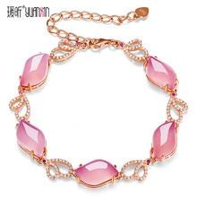 Famosa marca natural piedras semipreciosas Calcedonia Rosa oro pulseras mujeres joyas novia regalo