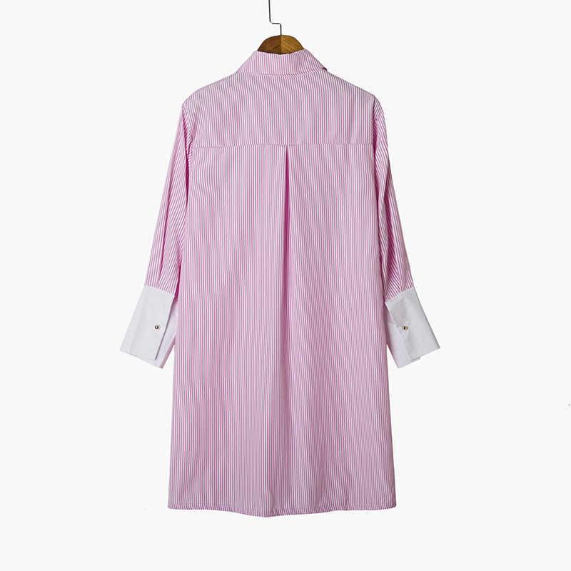 Hanyiren נשים ציפור רקום חולצה אופנה ארוך שרוול באיכות גבוהה לבן להנמיך צווארון חולצה נשים חולצות chemisier femme