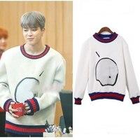 kpop BTS JIMIN cotton white Round Collar women hoodies korean Bangtan Boys loose Harajuku Long sleeve sweatshirts k pop clothes