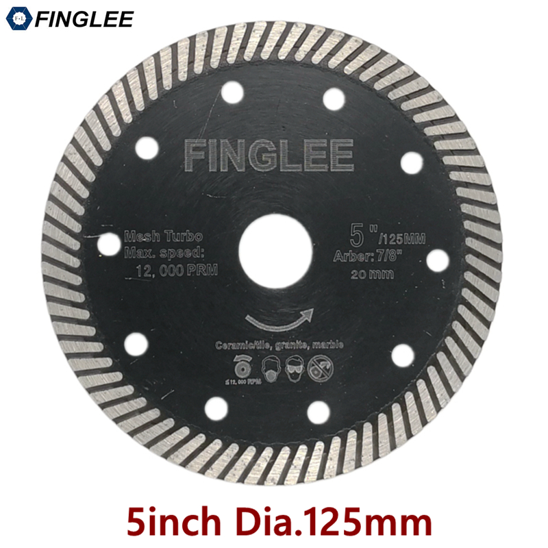 FINGLEE 5inch 125mm Hot Pressed Superthin Diamond Turbo Blade Hard Material Ceramic/Tile Granite Cutting Disc Diamond blade