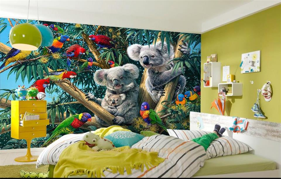 custom 3d room wallpaper  mural non-woven mural wallpaper forest parrot Koala decoration painting 3d wallpaper for walls 3d 3d room custom wallpaper photo non woven mural picture 3d fantasy forest birds decoration painting wallpaper for walls 3 d