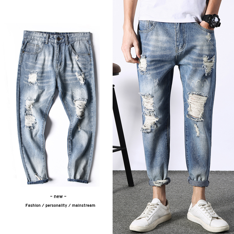 2018 Men Fashion Casual Blue Holes Cowboy Ankle-length Pants Tide Jean Stretch Slim Fit Homme Small Straight Leg Denim Trousers
