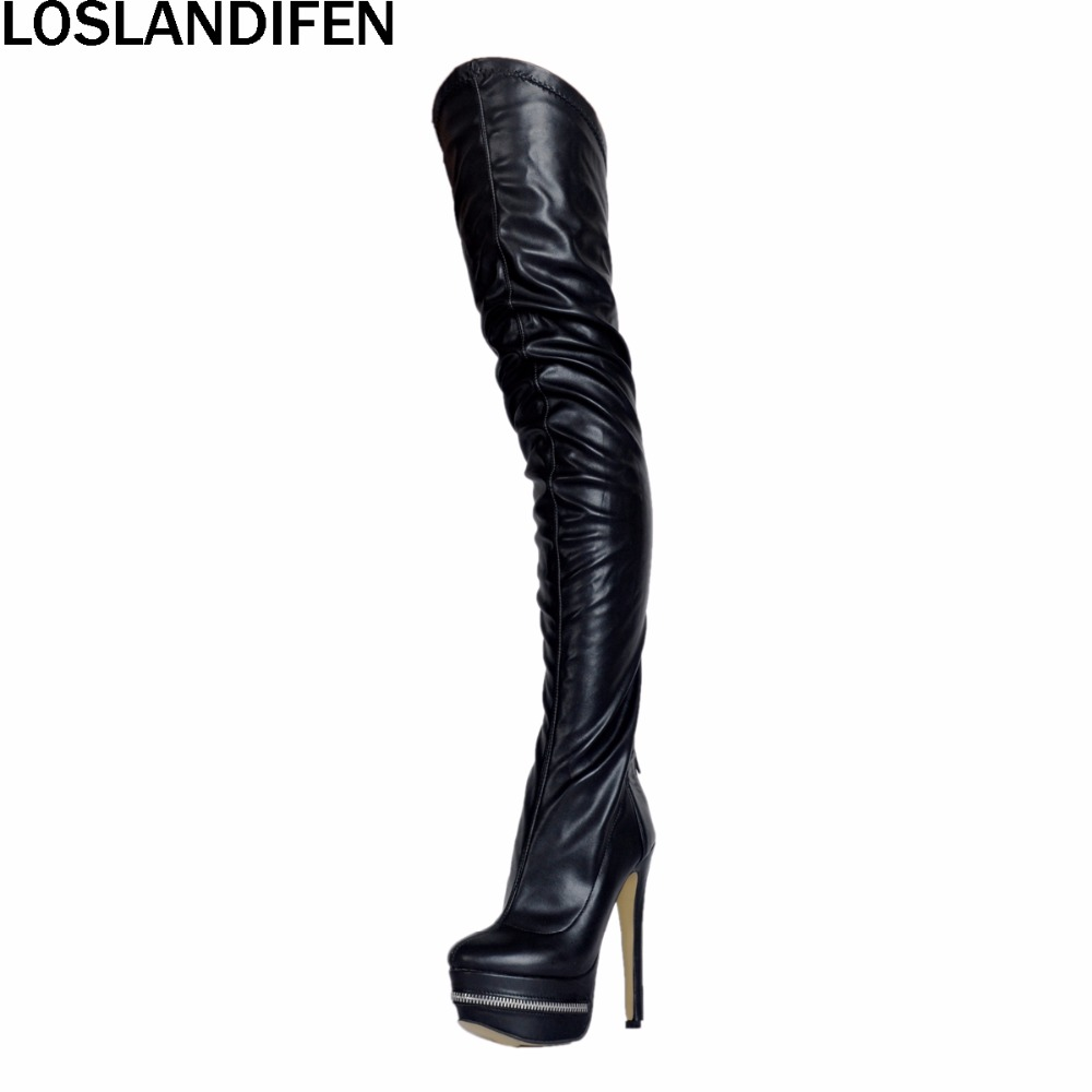 2018 New Hot Sale Women Ladies Handcrafted High Heel Platform Boots Round-toe Over-the-knee Thigh Booty Sexy Party Shoes XD231 nayiduyun new thigh high shoes women wedge slip on over the knee boots high heel punk sneaker oxfords platform riding greepers