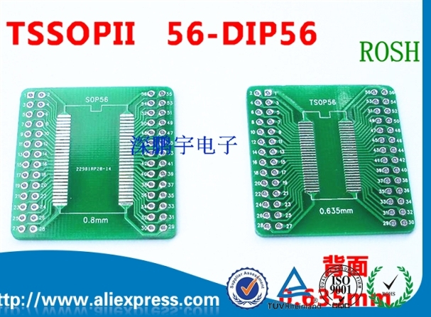Tsopii tssop56 sop56変換ボード0.635ミリメートル/0.8ミリメートルピッチsdramアダプタボード