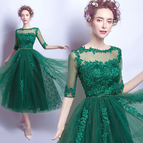 bba398fc9a5e5 Sexy Emerald Green Lace Homecoming Dresses Tea Length Prom Dress 2019 Half  Sleeves Cheap Women Party Dresses Graduation Gowns
