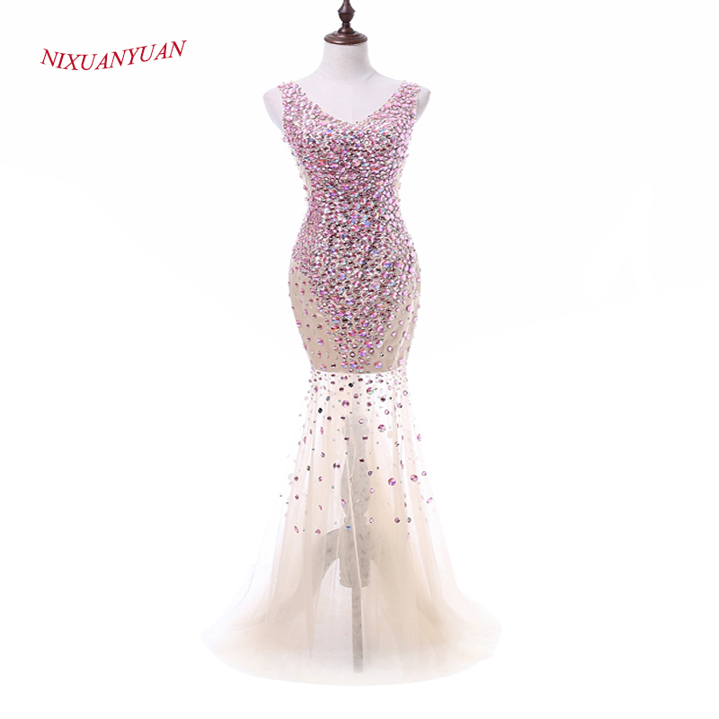 NIXUANYUAN 2017 New Custom Made Luxury Crystal   Prom     Dress   2017 Mermaid Tulle See Through Sexy Party   Dress   Real vestidos de baile