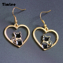 Timlee E018 Lovely Heart Kitty Contracted Enamel Cat Earrings Wholesale(China)