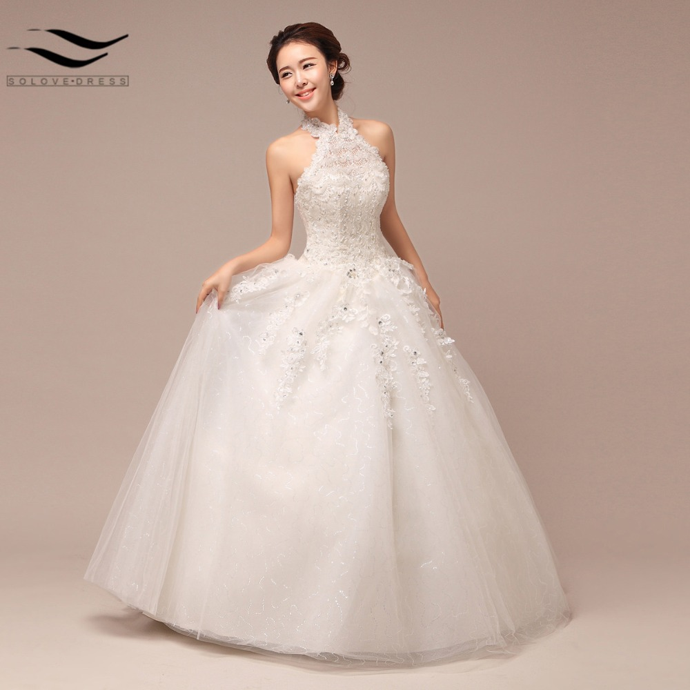 Korean Lace Up Ball Gown Halter Wedding Dresses 2017 Plus Size ...