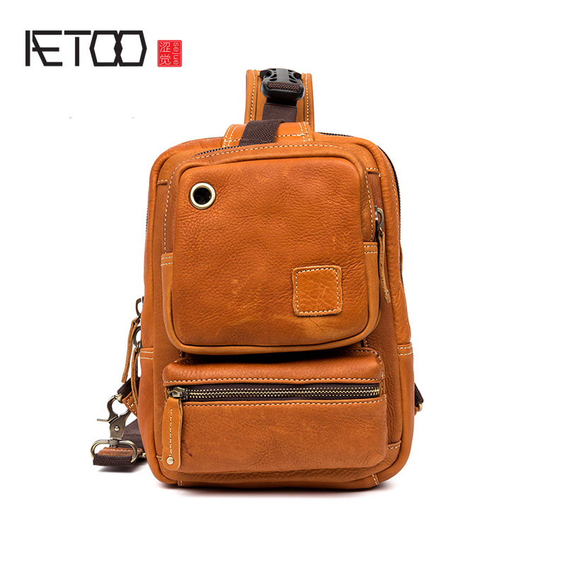 AETOO Business casual leather chest bag men first layer leather shoulder bag shoulder bag handbags Korean version aetoo first layer of leather shoulder bag female bag korean version of the school wind simple wild casual elephant pattern durab
