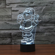 Free Shipping 7 Colors changing Flashing Santa Claus Arcylic 3D LED Night Light USB Father Christmas Decorative Lamps