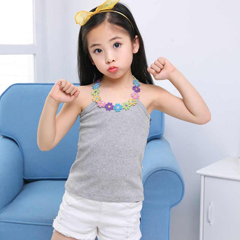 Maglietta per ragazza estiva maglietta con Applique a fiori in cotone per ragazza top tees maglietta per bambini maglietta per bambini top in cotone