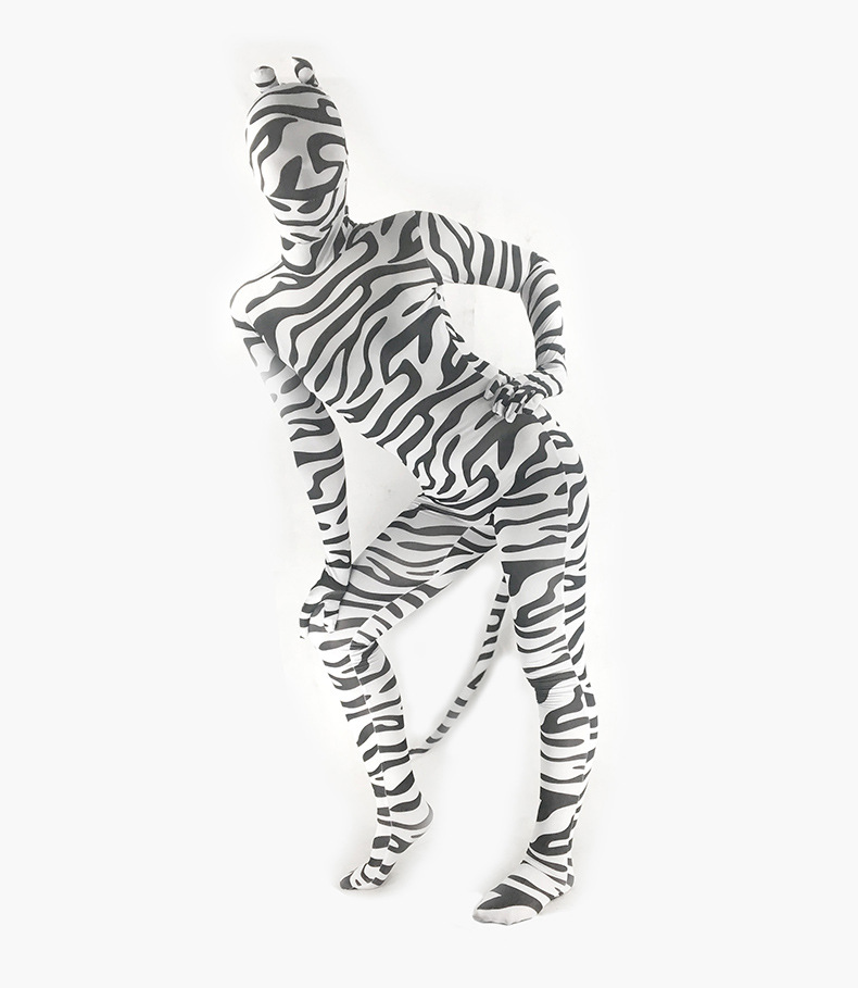 Adult Spandex Lycra Unisex Zebra Print Animal Full Body Zentai Suit with Ear and Tail Skin Tight Unitard Zentai Costume bodysuit