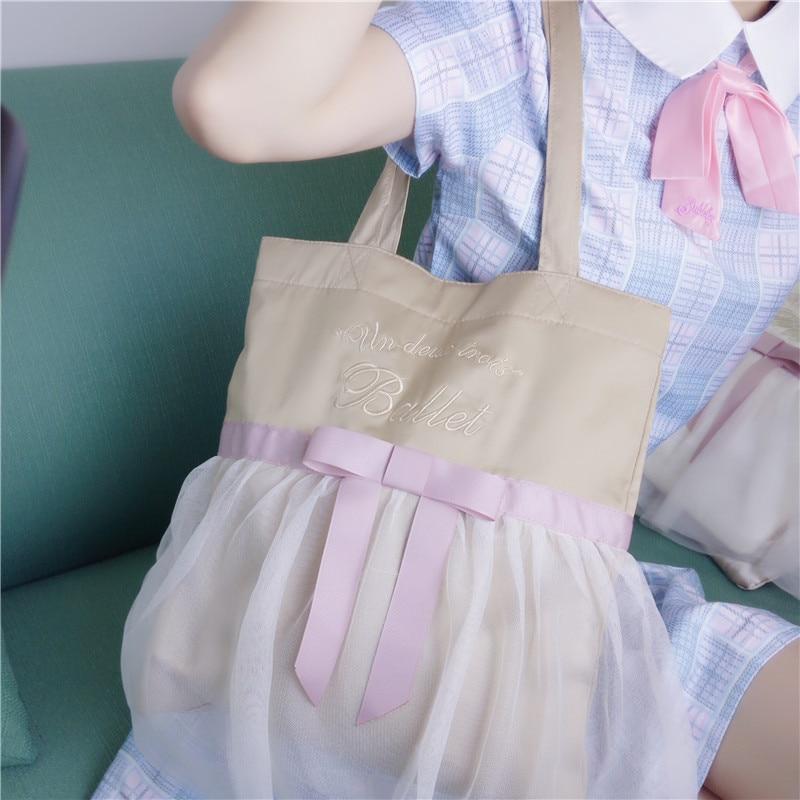 Summer New White And Pink Lace Joker Bag Japanese Lolita Bow Ribbon Embroidery Kawaii Girl Shoulder