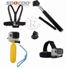 for Gopro Accessories Set for Gopro hero 5 4 3 plus SJ4000 Xiaomi Yi 4k head chest strap Floaty bobber Monopod(China)