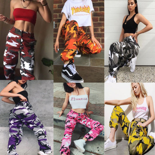 new fashion Women Camo Cargo Trousers Casual Pants Military Army Combat Camouflage pants
