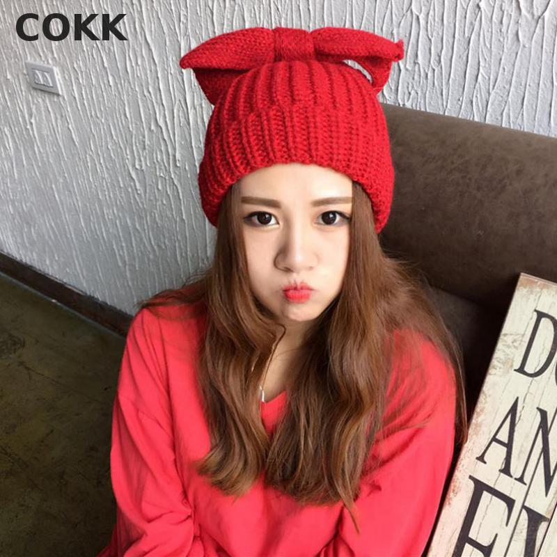 COKK Hot New Autumn Winter Beanies Hat For Women Girls Knitted Wool Skullies Beanies Casual Cap With Bow Solid Color Gorros Cap the new children s cubs hat qiu dong with cartoon animals knitting wool cap and pile