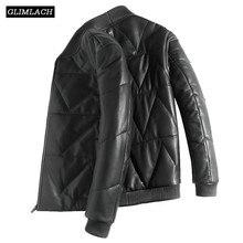 Chaquetas de plumón de piel de oveja de lujo para hombre, chaqueta Bomber de cuero genuino cálido para hombre, abrigos de aviación con soporte de cuero Real de invierno de manga larga