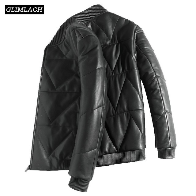 Luxury Sheepskin Down Jackets Man Warm Genuine Leather Bomber Jacket Mens Long Sleeve Winter Real Leather Stand Aviation Coats