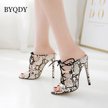 BYQDY Sexy Snake Skin Elastic Band Women Sandals Ankle Strap High Heels Peep Toe Pumps Shoes Nightclub Animal Print