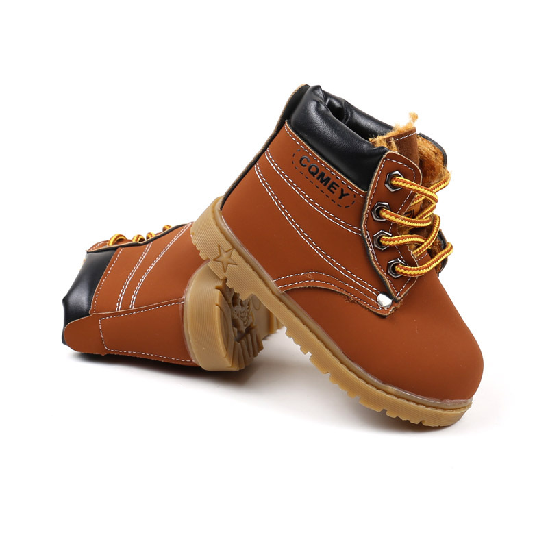 Spring Autumn Children Ankle boots Winter Girls Boots Boys Plush Snow Motorcycle Boots Lace Up Rome Boots Kids Shoes 03B in Boots from Mother Kids