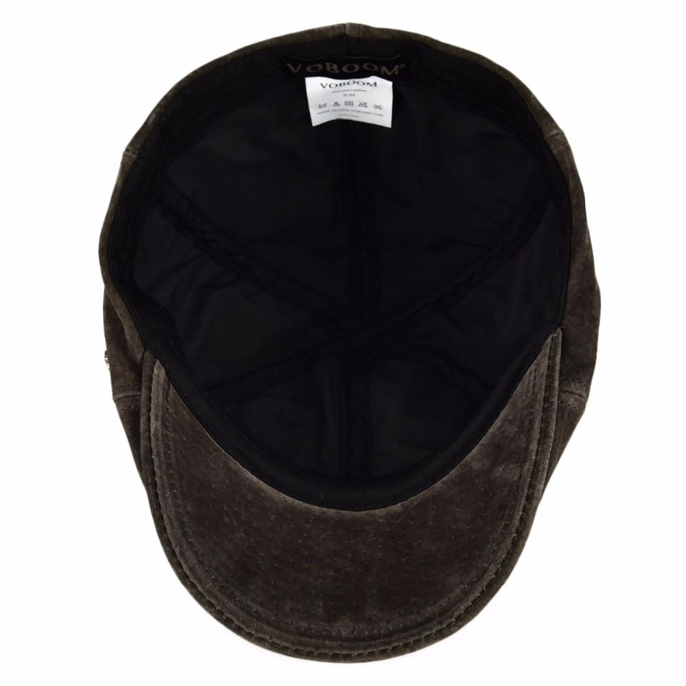 7a66250d78038 VOBOOM de cuero genuino boina plana tapas Vintage Retro de las mujeres de  los hombres auténtico de piel de cerdo Ivy Cap taxista sombreros Otoño  Invierno ...