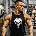 2016 de halloween cráneo gymvest clothing men fitness culturismo tank tops marca camiseta de algodón de alta calidad de gran tamaño del tanque
