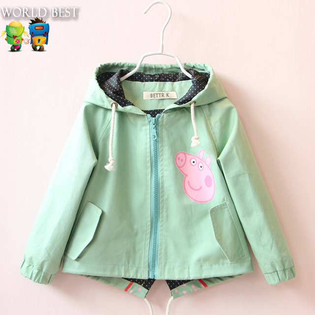Children spring and autumn 2016 girl jackets girls outerwear coats pig pattern windbreaker baby Jackets for girls kids clothes