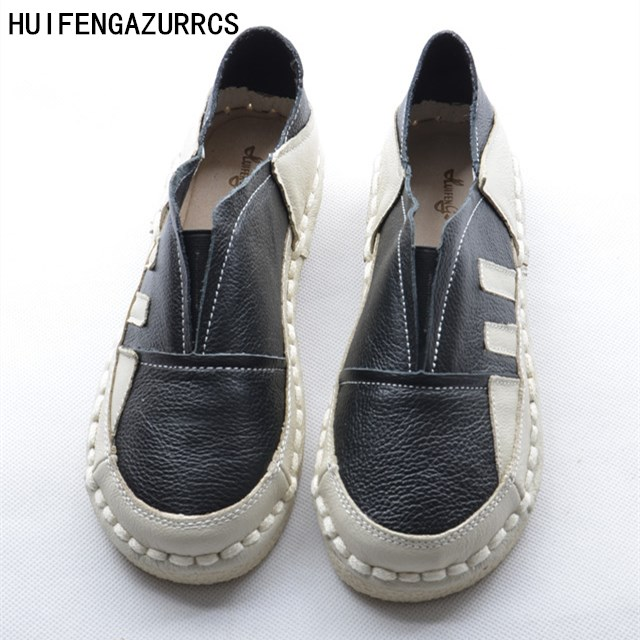 HUIFENGAZURRCS-2018 new spring hot sale Genuine leather shoes RETRO art shoes comfort leisure flat white shoes,3 colors huifengazurrcs new genuine leather