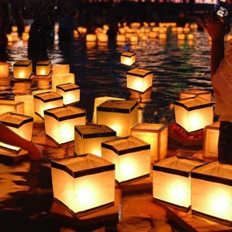 10pcs/lot 10cm/15cm Square Water Floating Candle lantern Waterproof Chinese Wishing Paper Lanterns for Wedding Party Decoration