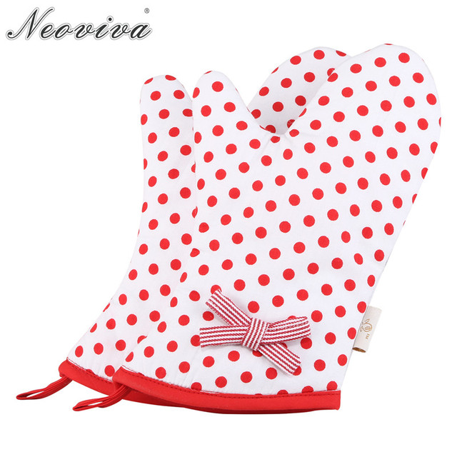 Neoviva Stylish Oven Mitts For Children With Bow Knot Set Of 2 Emma Polka Dots Cherry Tomato Mittens And Potholders Microwaves