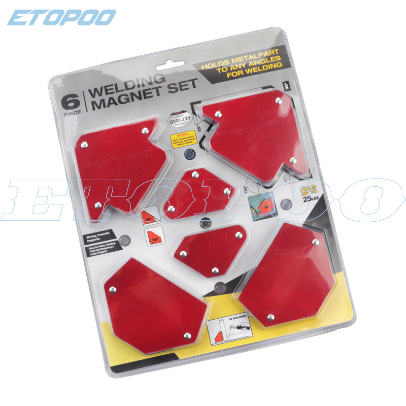 6 Pcs/Set Triangle Welding Positioner Magnetic Fixed Angle Soldering Locator Tools Without Switch Welding Accessories