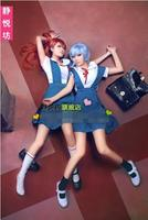 Anime Neon Genesis Evangelion Cosplay Ayanami Rei Cos Halloween Party Full set 3in1(Dresses+Shirt + Ribbons)