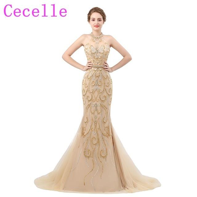 2018 New Designer Mermaid Gold Heavily Beading Luxury Prom Dresses ...