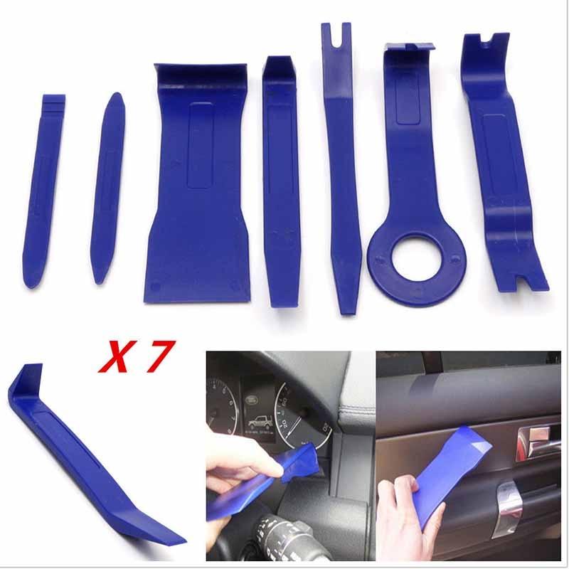 Prix pour Mayitr 7 PCS Bleu Couleur DIY En Plastique De Voiture Auto Radio porte Clip Panneau Garniture Dash Audio Suppression Pry Kit Outils nouveau