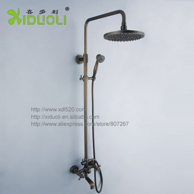 Xiduoli Free shipping   Classic Bamboo Design Brushed dual handle bathroom faucet bath & shower set XDL-1236