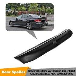 Z włókna węglowego tylny Spoiler bagażnika samochodu Boot dla Mercedes Benz E klasa E63 AMG E550 E500 E400 E350 E300 e250 E200 2010 2015 w Spoilery i skrzydła od Samochody i motocykle na