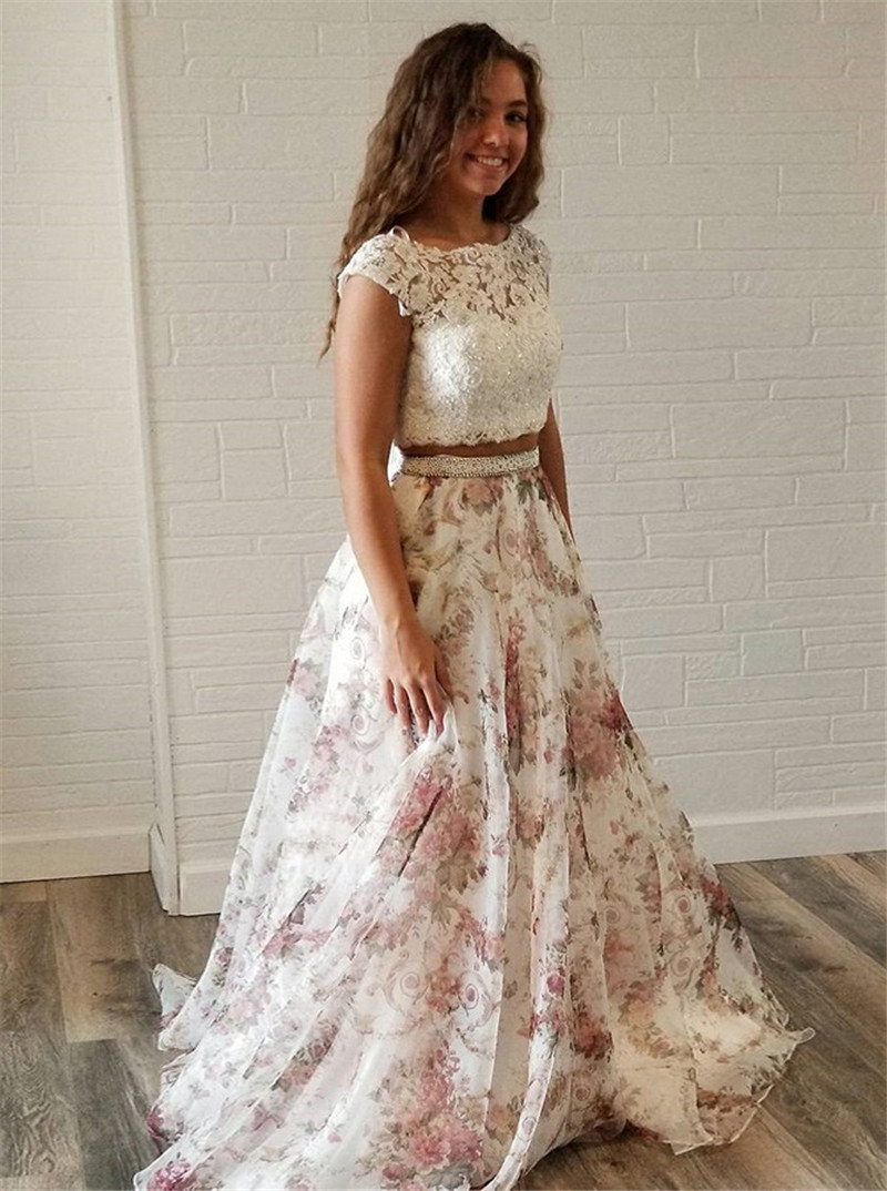 bb4fa3353b BeryLove Pattern Chiffon Formal Evening Dress 2019 Evening Gown Long Open  Back Prom Dress Special Occasion