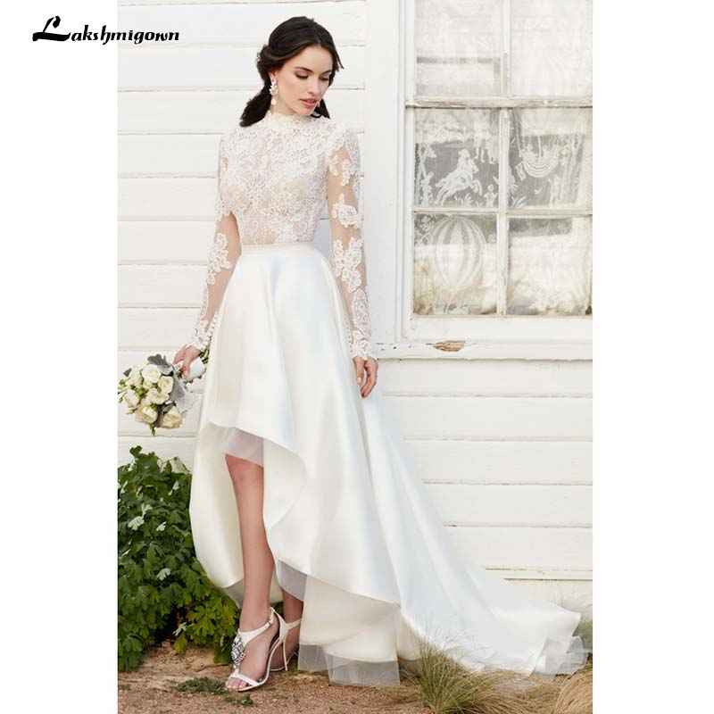 Vintage Lace Long Sleeve High Low Wedding Dresses Ivory Lace