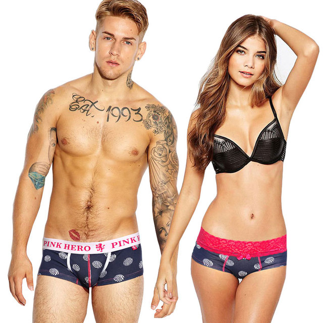 Pink Heroes Couple Underwear Knicker Leopard Print Male Sexy Underwear Triangle Underpants Men Boxers Lovers Elastic Shorts 1pcs