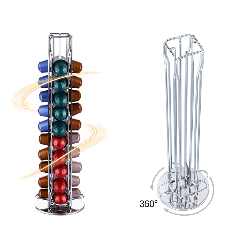 2019 Rotating Dispenser Coffee Capsules Tower Stand Coffee Pod Holder For 40pcs Nespresso Coffee Capsules Free Shipping