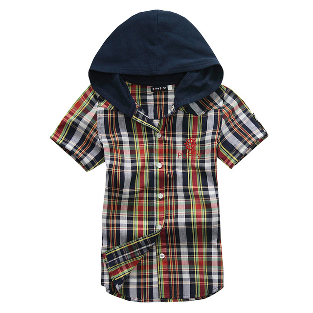 OK Freeshipping summer blue orange plaid children boy Kid baby casual short sleeve cotton hoody hooded shirt/T-shirt PEXS03P27