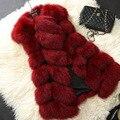 Новое Прибытие Зима Теплая Fsahion Длинные Женщин Искусственного Меха Жилет искусственный Мех Пальто Лисий Мех Жилет Colete Feminino Плюс размер 5XL